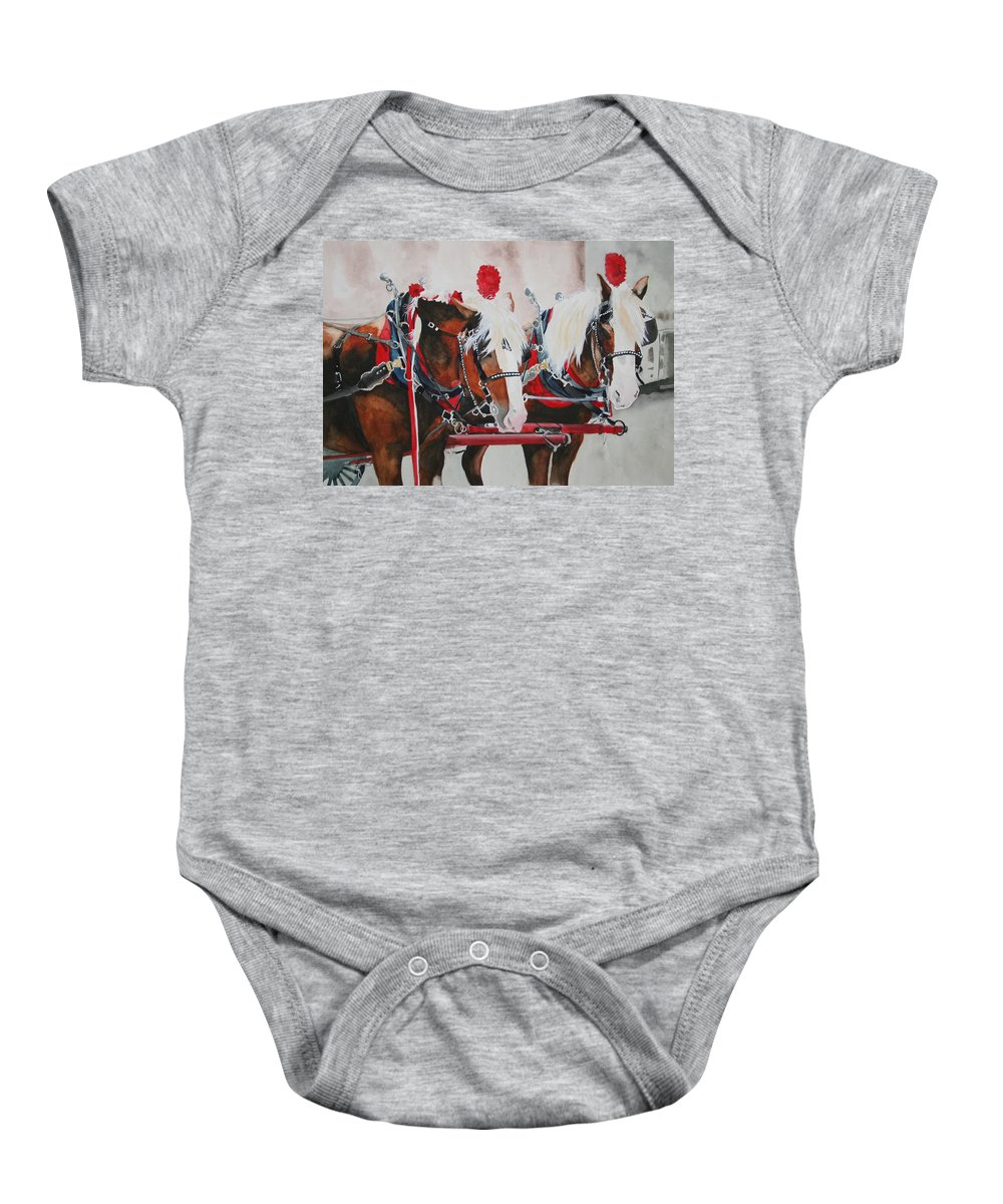 Horse Baby Onesie featuring the painting Dandy Duo by Jean Blackmer