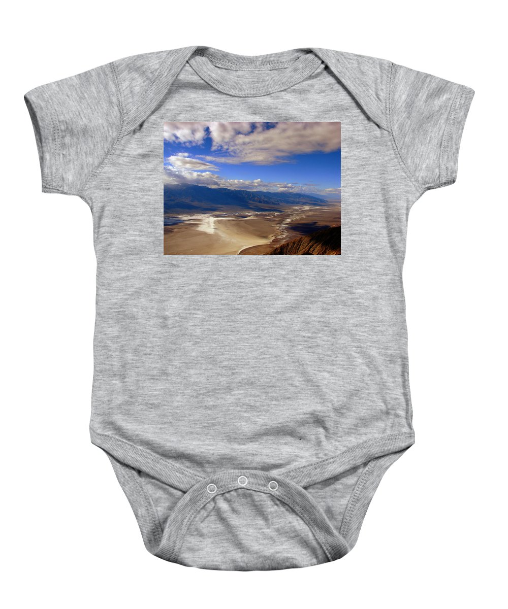 Landscape Baby Onesie featuring the photograph Dante's View by Linda Arnn Arteno