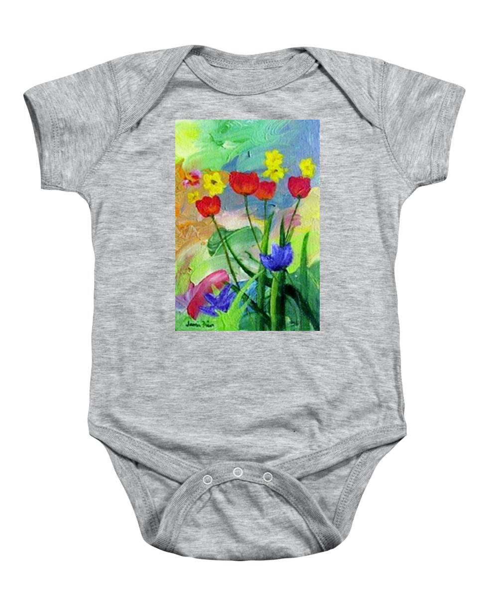 Tulips Baby Onesie featuring the painting Daria's Flowers by Jamie Frier