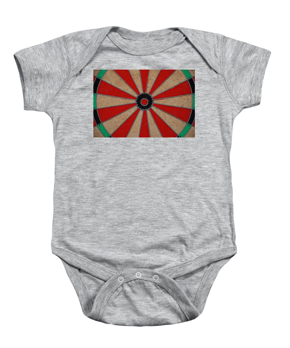 Art Baby Onesie featuring the photograph Dart Board by Rob Hans