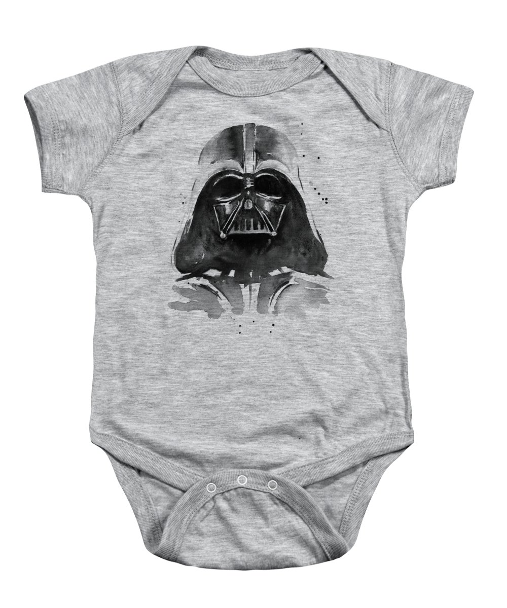 Watercolor Baby Onesie featuring the painting Darth Vader Watercolor by Olga Shvartsur