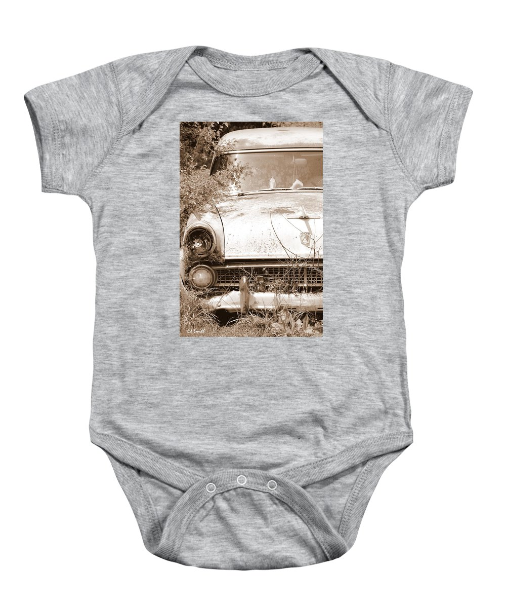 Dashboard Jesus Baby Onesie featuring the photograph Dashboard Jesus by Ed Smith