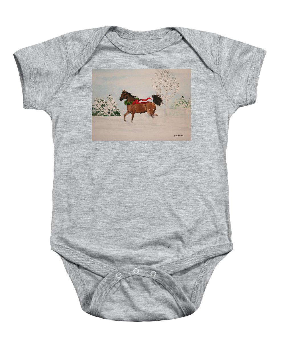Horse Baby Onesie featuring the painting Dashing Thru The Snow by Jean Blackmer