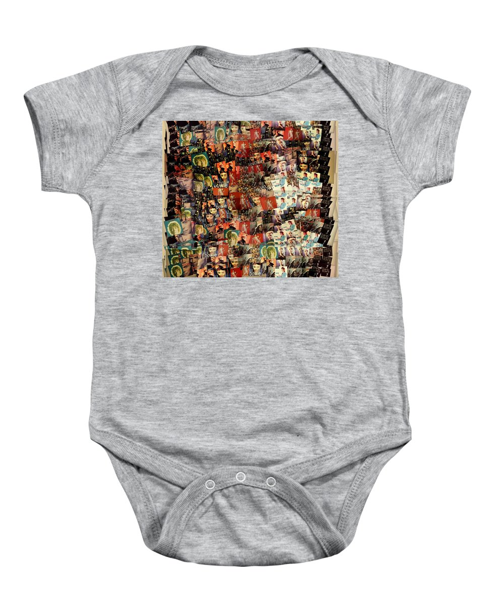84f1fdc7d David Bowie Collage Mosaic Baby Onesie featuring the mixed media David Bowie  Collage Mosaic by Dan