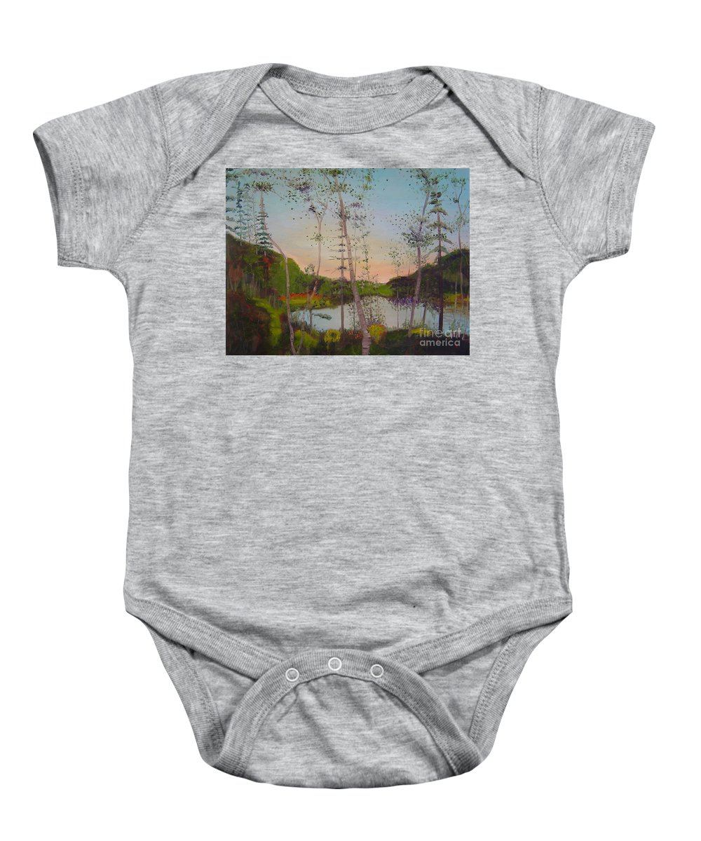 Landscape Baby Onesie featuring the painting Dawn By The Pond by Lilibeth Andre