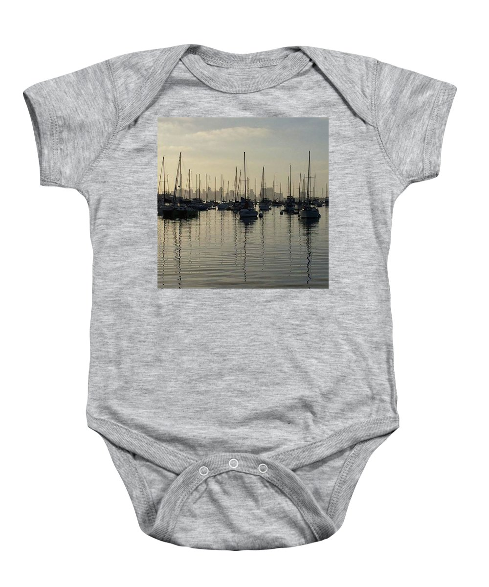 Harbor Baby Onesie featuring the photograph Dawn Gloom by Jeffrey H