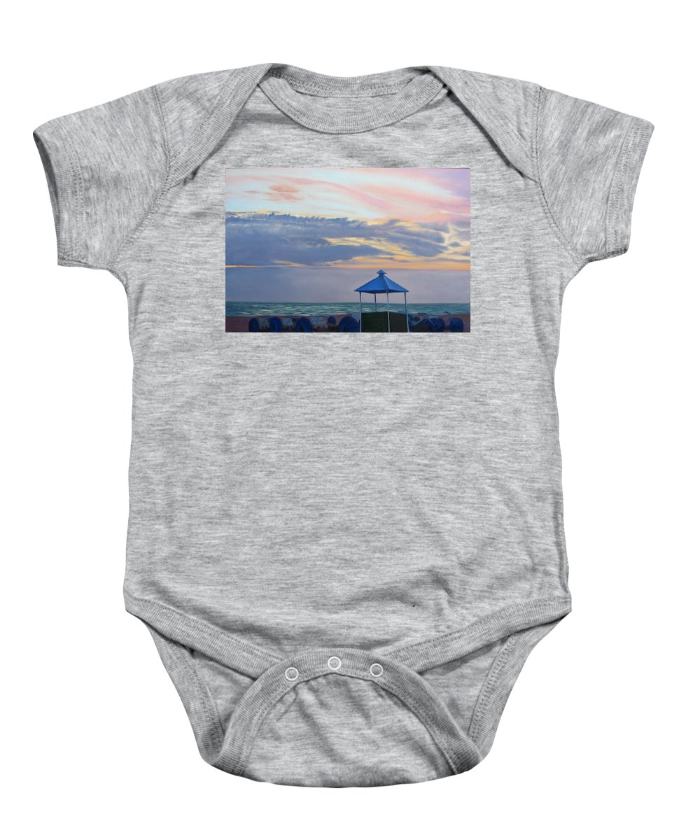 Sunset Baby Onesie featuring the painting Day Is Done by Lea Novak