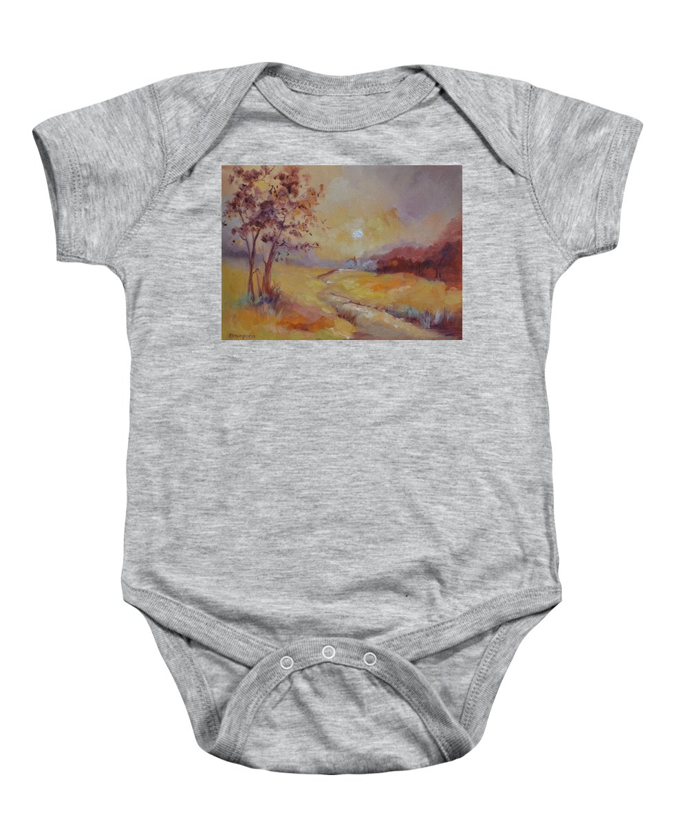 Evening Landscape Baby Onesie featuring the painting Day's End by Ginger Concepcion