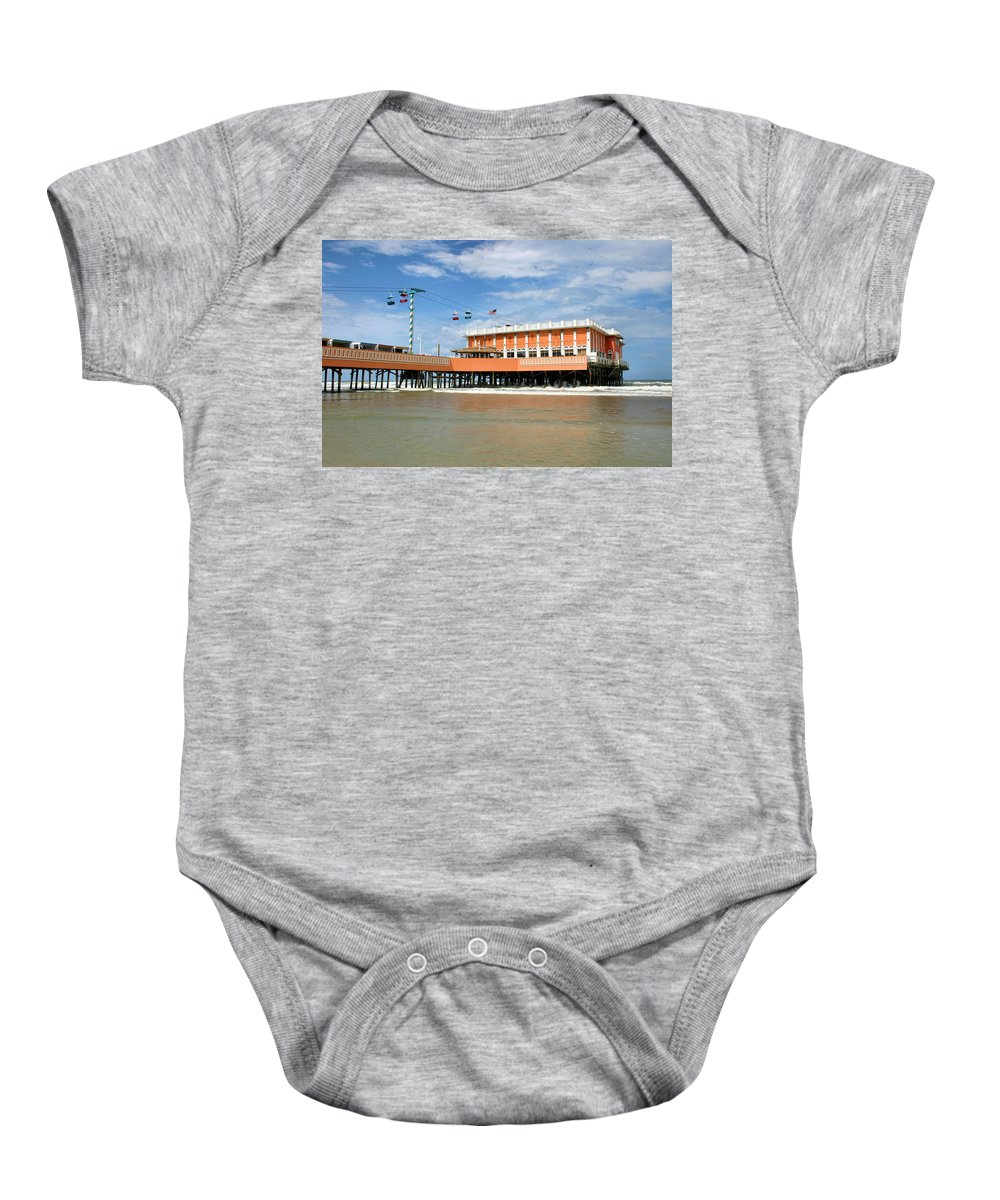 Daytona Beach Baby Onesie featuring the photograph Daytona Beach Pier by Kristin Elmquist