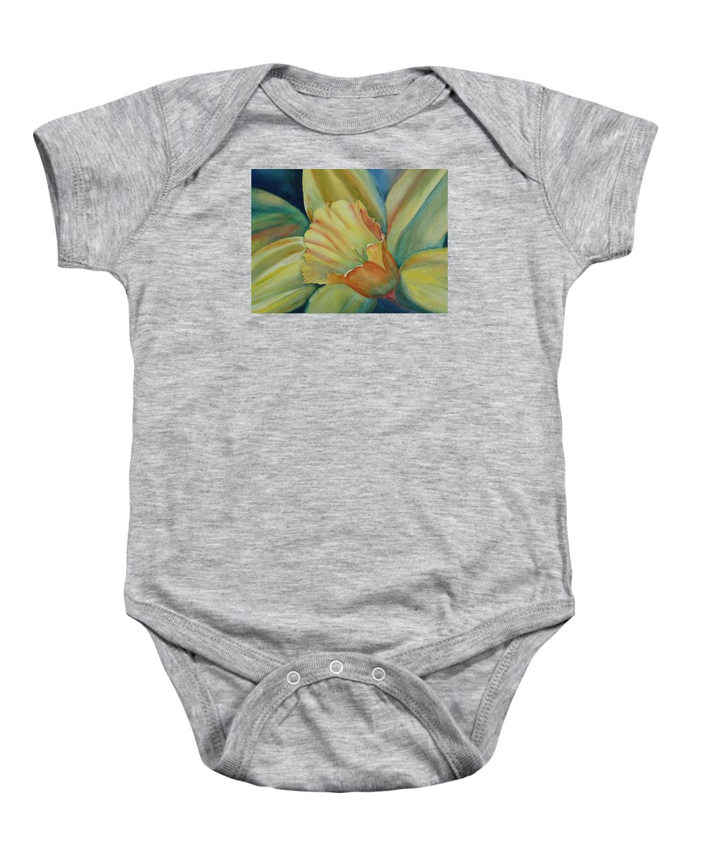 Flower Baby Onesie featuring the painting Dazzling Daffodil by Ruth Kamenev