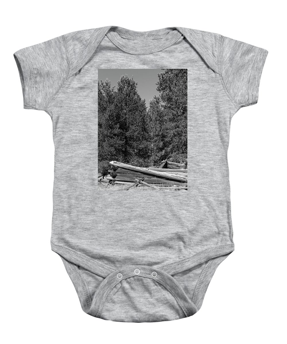 Ruins Baby Onesie featuring the photograph Ddp Djd B And W 1880's Cabin Ruins In Montana 3 by David Drew