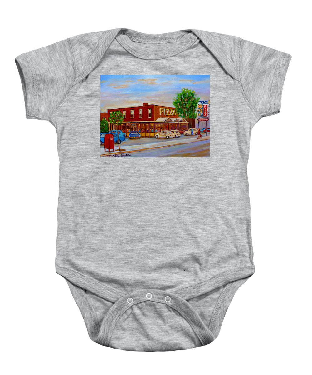 Tasty Food Pizza Baby Onesie featuring the painting Decarie Tasty Food Pizza by Carole Spandau