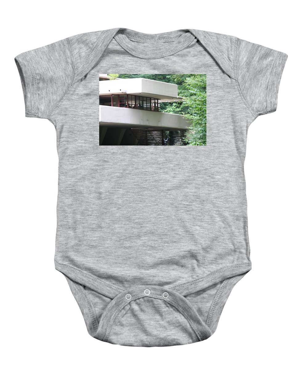 Falling Water Baby Onesie featuring the photograph Deck View Fallingwater by Chuck Kuhn