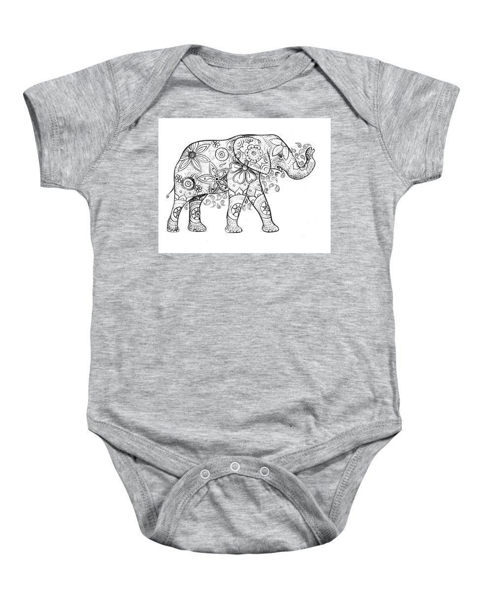 Elephant Baby Onesie featuring the drawing Decorated Elephant in Black and White by Emily Page