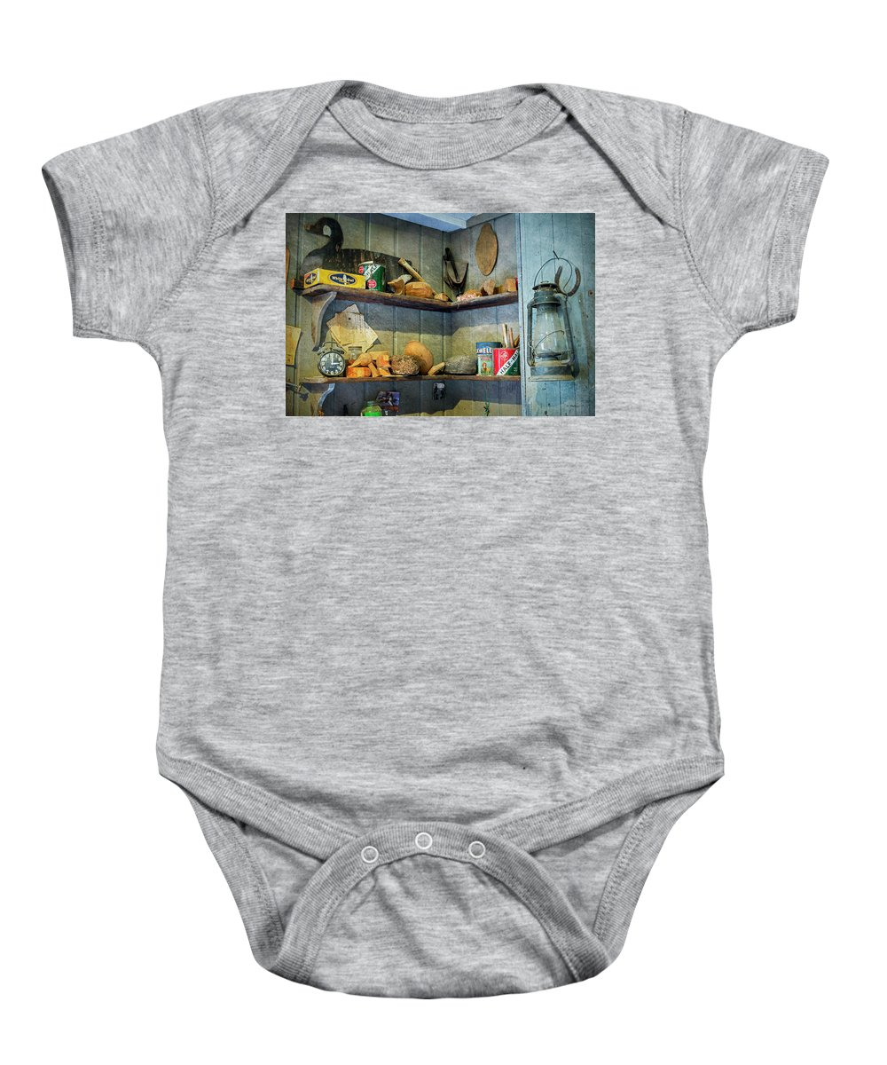 2d Baby Onesie featuring the mixed media Decoy Workshop Shelves by Brian Wallace