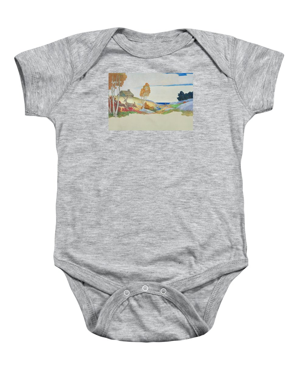 Wyeth Baby Onesie featuring the painting Deer And Stream by Newell Convers Wyeth