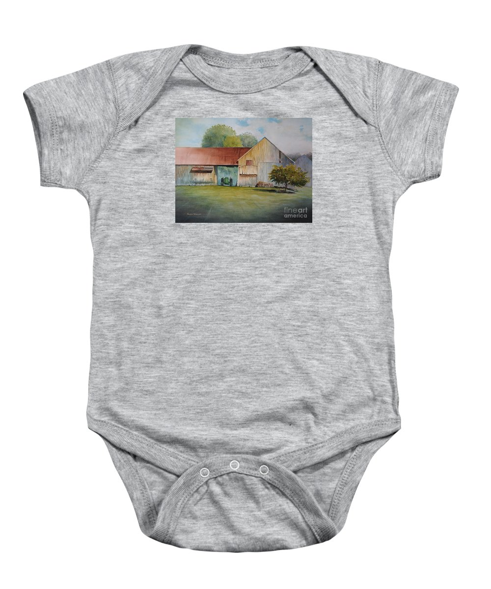 Barns Baby Onesie featuring the painting Deere On The Farm by George Wisnowski