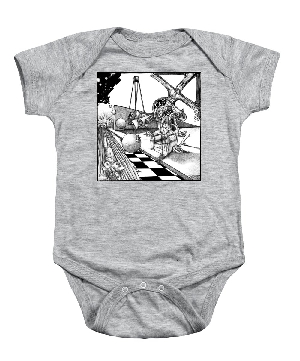 Pen Baby Onesie featuring the drawing Delirium Split Into To Many Views by Joseph Demaree