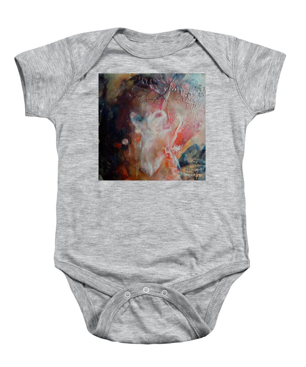 Abstract Baby Onesie featuring the painting Deneb by Dragica Micki Fortuna