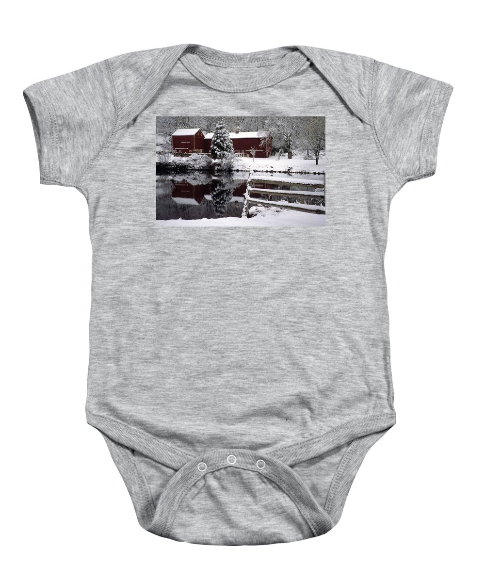 Barn Baby Onesie featuring the photograph Denville Homestead by Laurie Paci