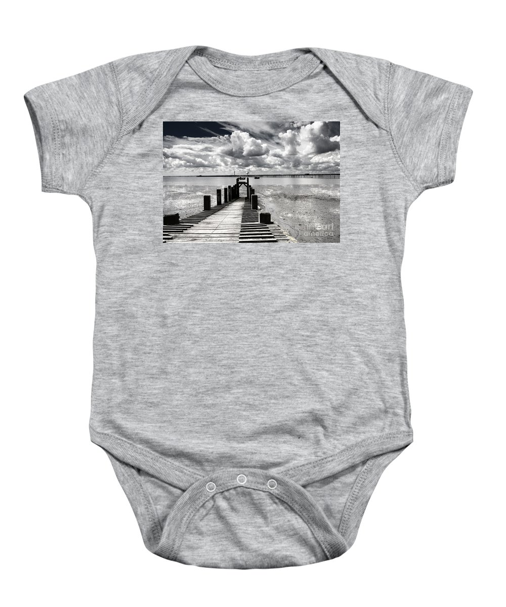 Wharf Southend Essex England Beach Sky Baby Onesie featuring the photograph Derelict Wharf by Sheila Smart Fine Art Photography