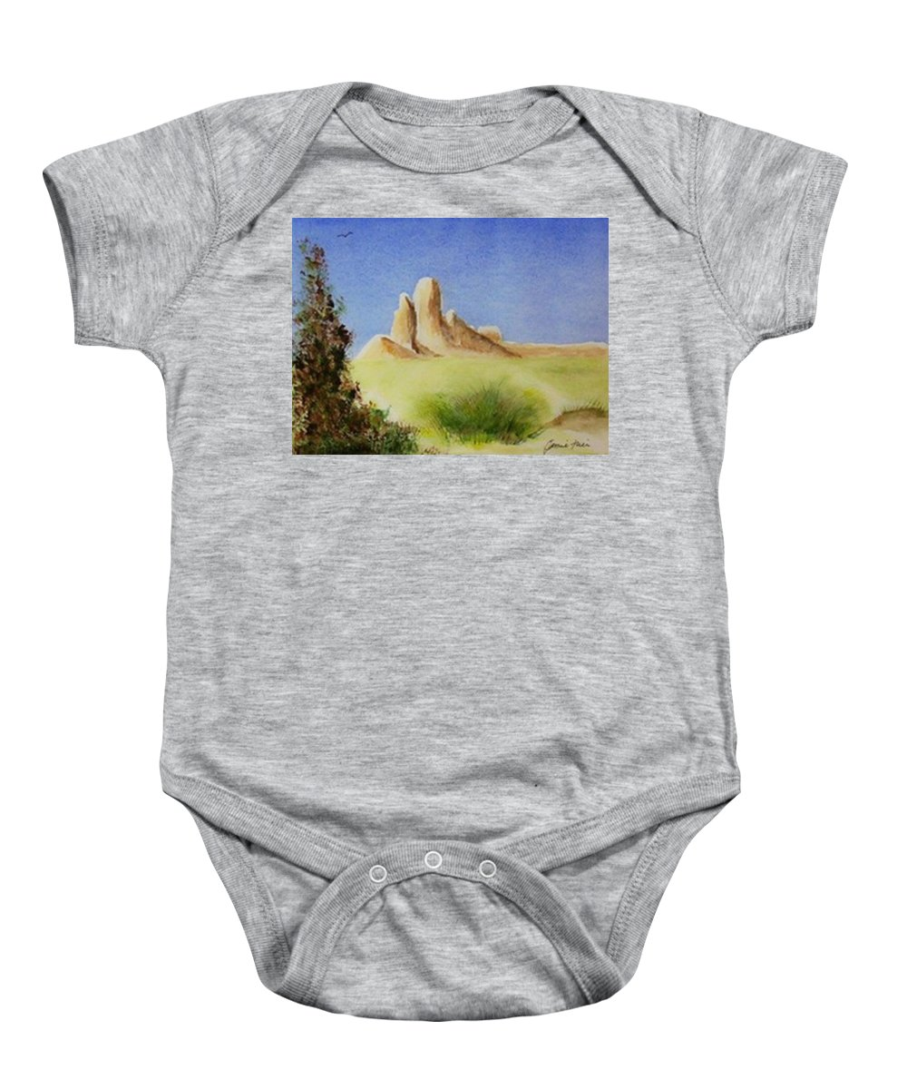 Butte Baby Onesie featuring the painting Desert Butte by Jamie Frier