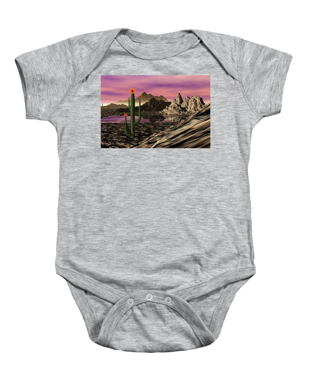 Digital Painting Baby Onesie featuring the digital art Desert Cartoon by David Lane