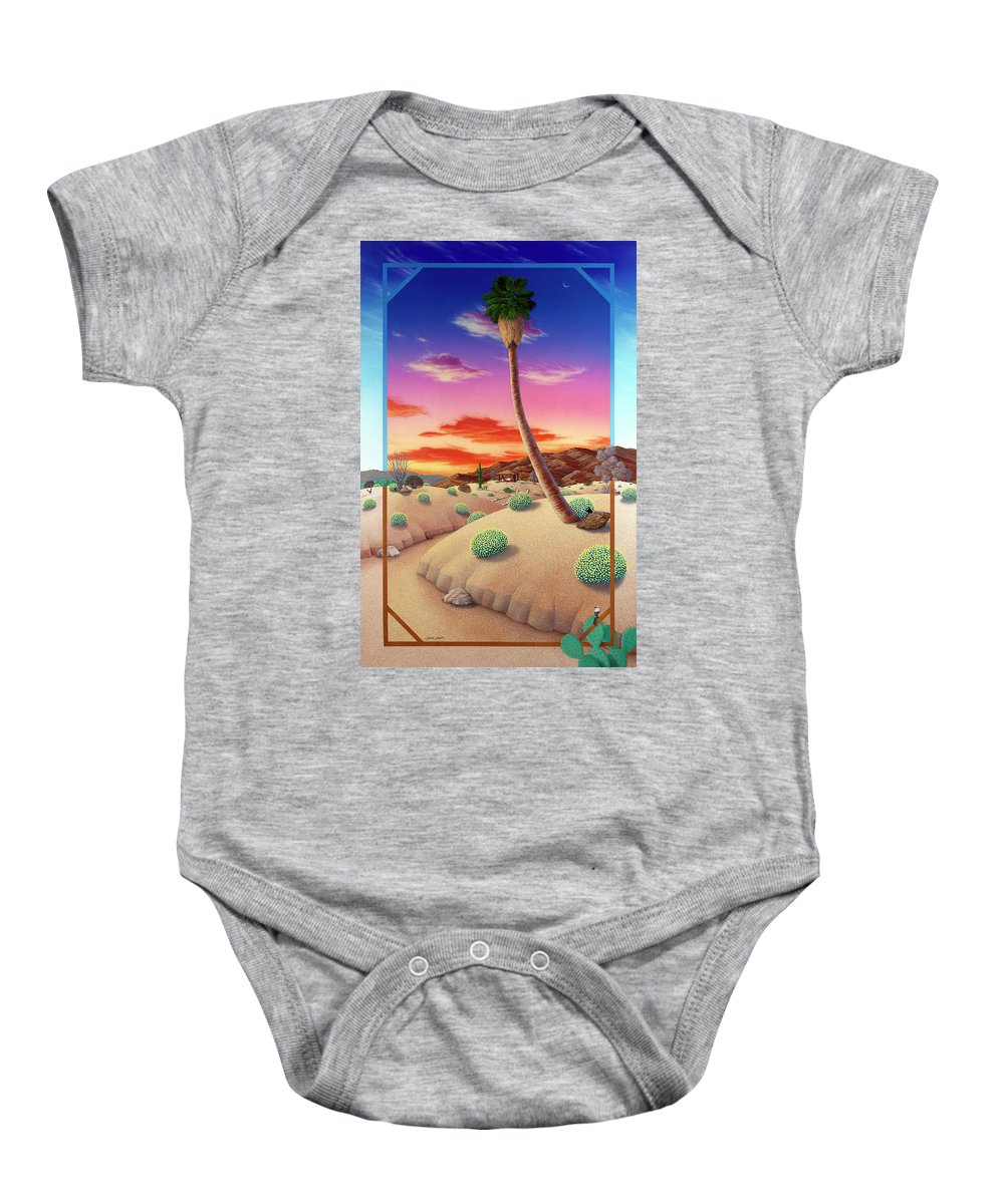 Landscape Baby Onesie featuring the painting Desert Gazebo by Snake Jagger