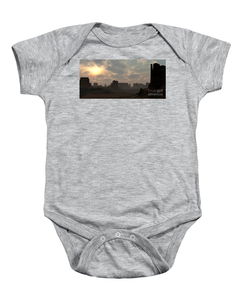 Desert Baby Onesie featuring the digital art Desert Morning by Richard Rizzo
