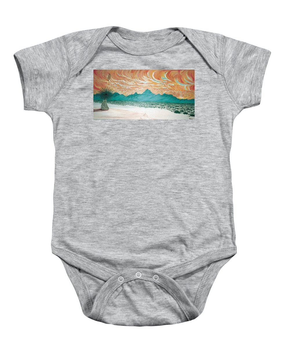 Desertscape Baby Onesie featuring the painting Desert Splendor by Marco Morales
