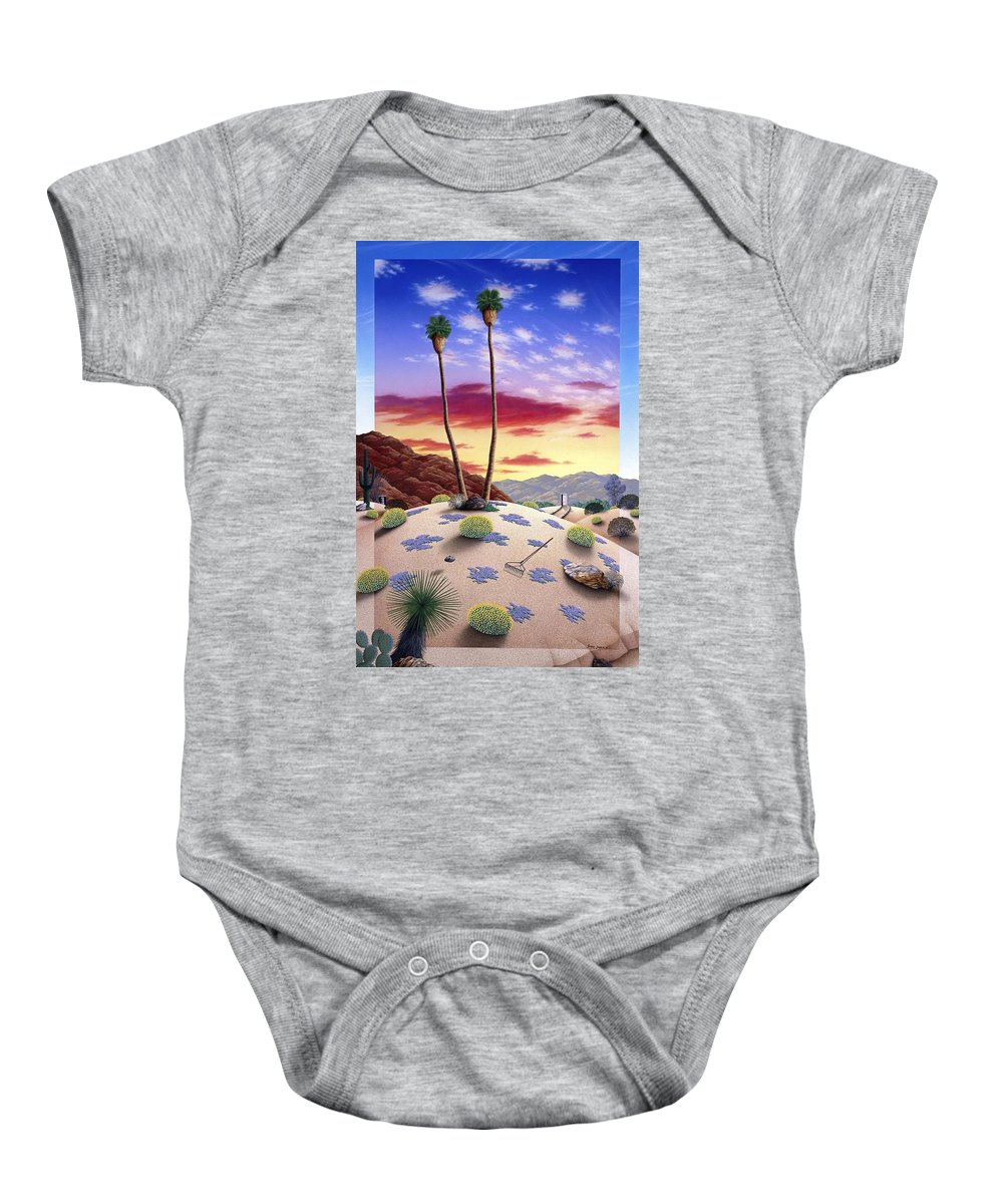 Desert Baby Onesie featuring the painting Desert Sunrise by Snake Jagger