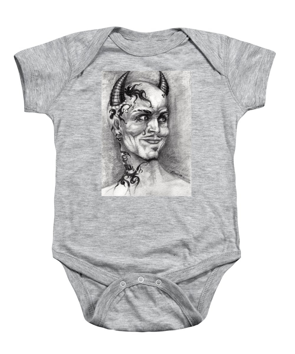 Satan Baby Onesie featuring the drawing Devil May Cry by Alban Dizdari