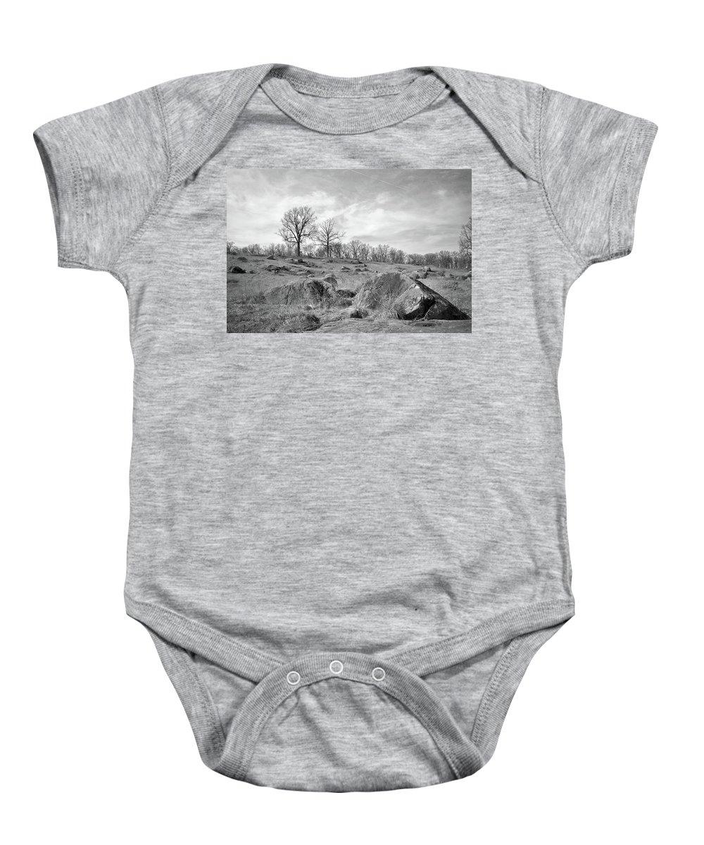 Civil War Baby Onesie featuring the photograph Devil's Den by Jen Goellnitz