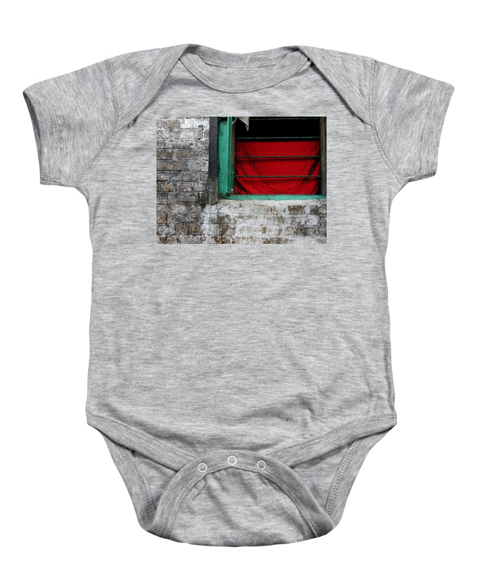 Red Baby Onesie featuring the photograph Dharamsala Window by Skip Hunt