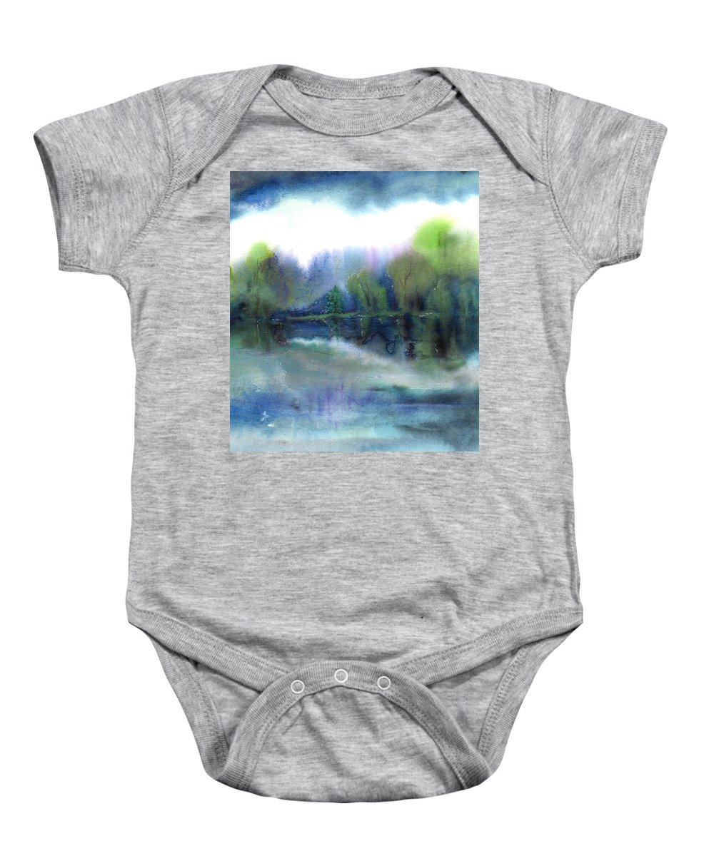 Water Baby Onesie featuring the painting Diamond Bay by Melody Horton Karandjeff
