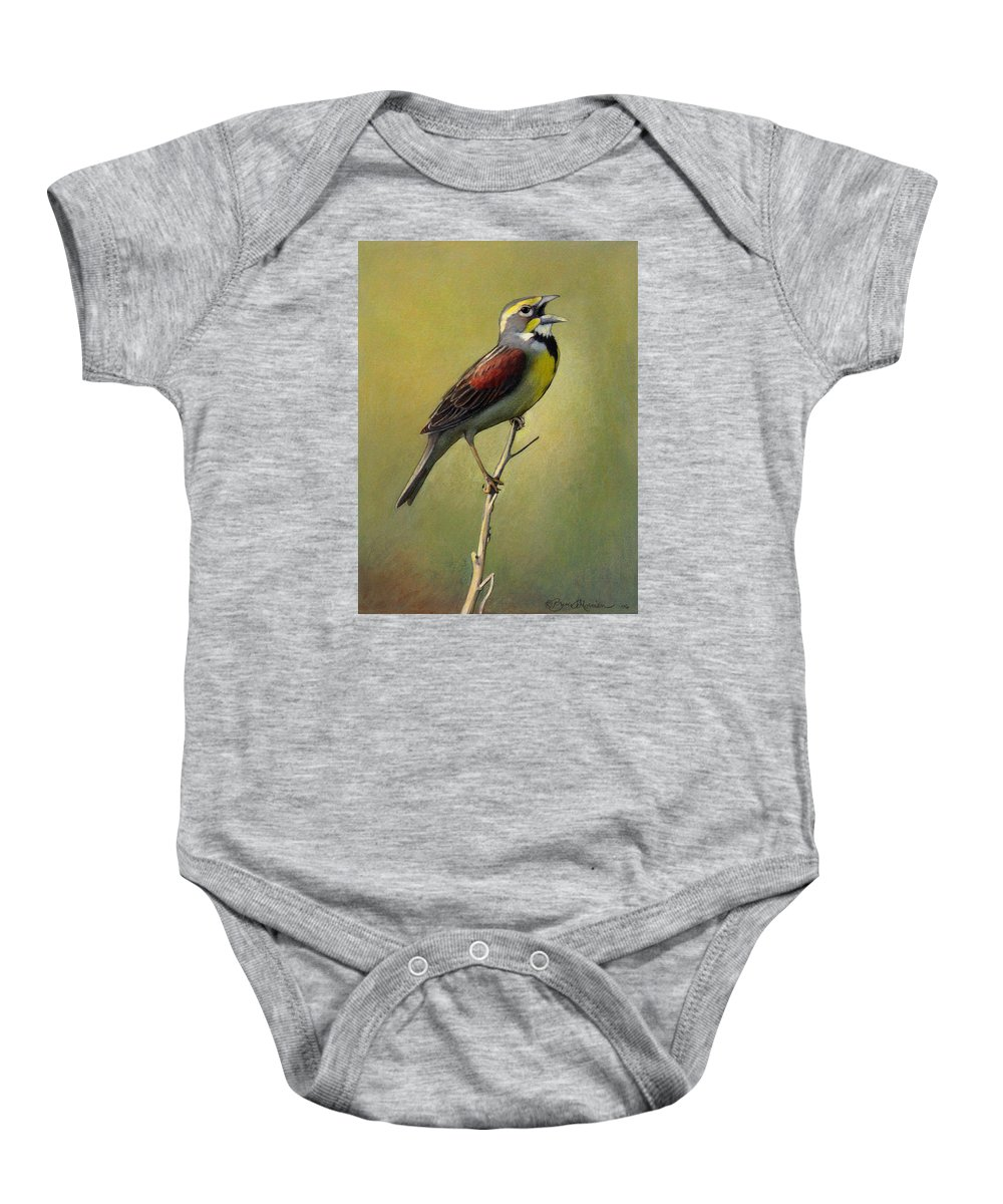 Birds Baby Onesie featuring the drawing Dickcissel Summer Song by Bruce Morrison
