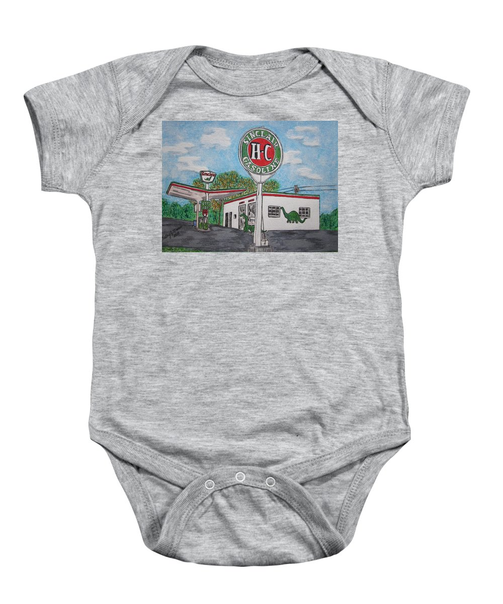 Dino Baby Onesie featuring the painting Dino Sinclair Gas Station by Kathy Marrs Chandler
