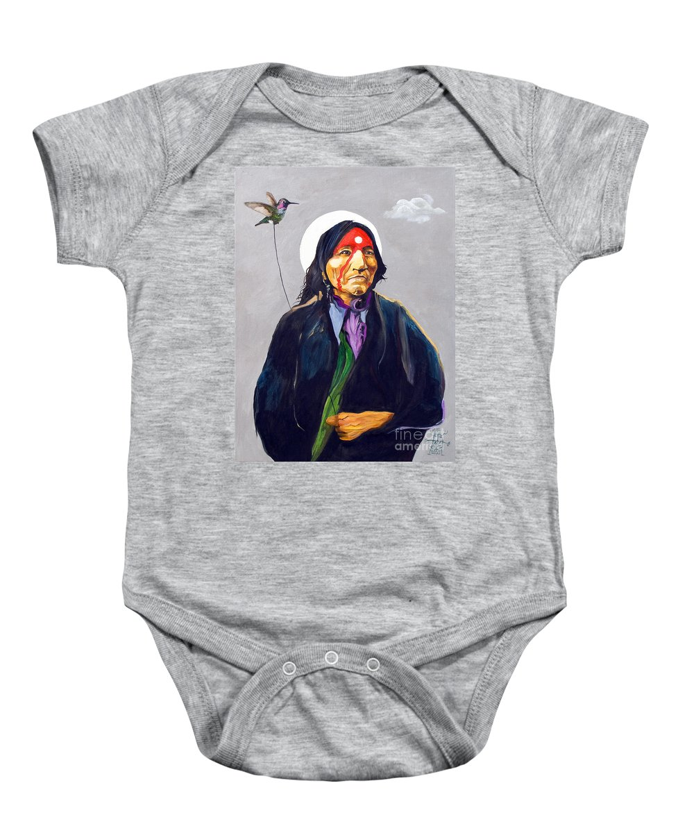 Shaman Baby Onesie featuring the painting Direct Connect by J W Baker
