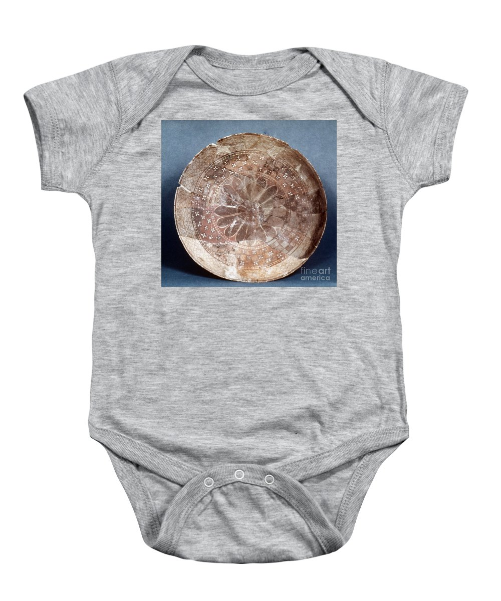 4100 B.c Baby Onesie featuring the photograph Dish Of Halaf Ware by Granger