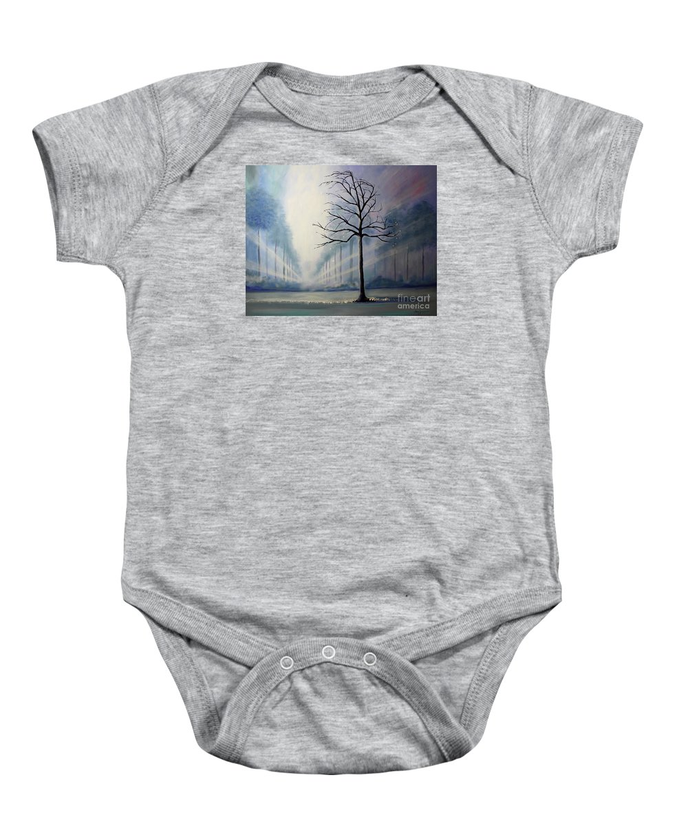 Uplifting Baby Onesie featuring the painting Divine Serenity by Stacey Zimmerman