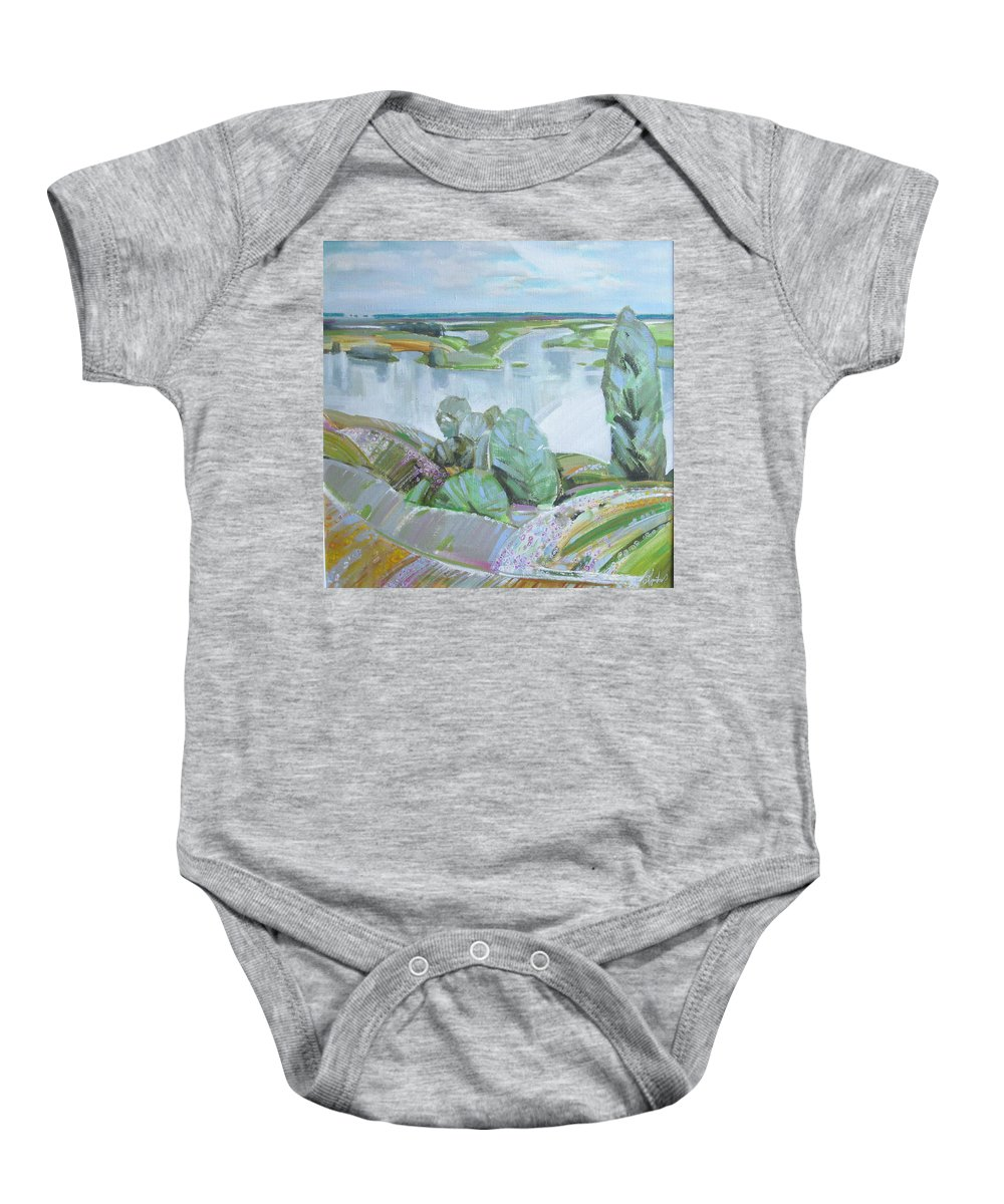 Landscape Baby Onesie featuring the painting Dnepro River by Sergey Ignatenko