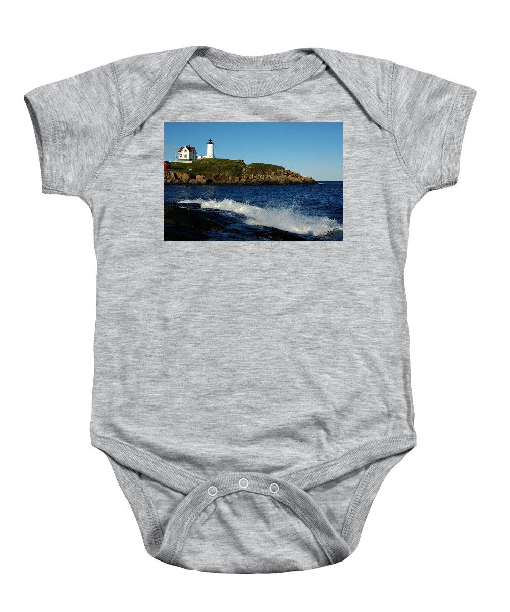 Landscape Lighthouse Nautical New England Cape Neddick Nubble Light Baby Onesie featuring the photograph Dnre0608 by Henry Butz