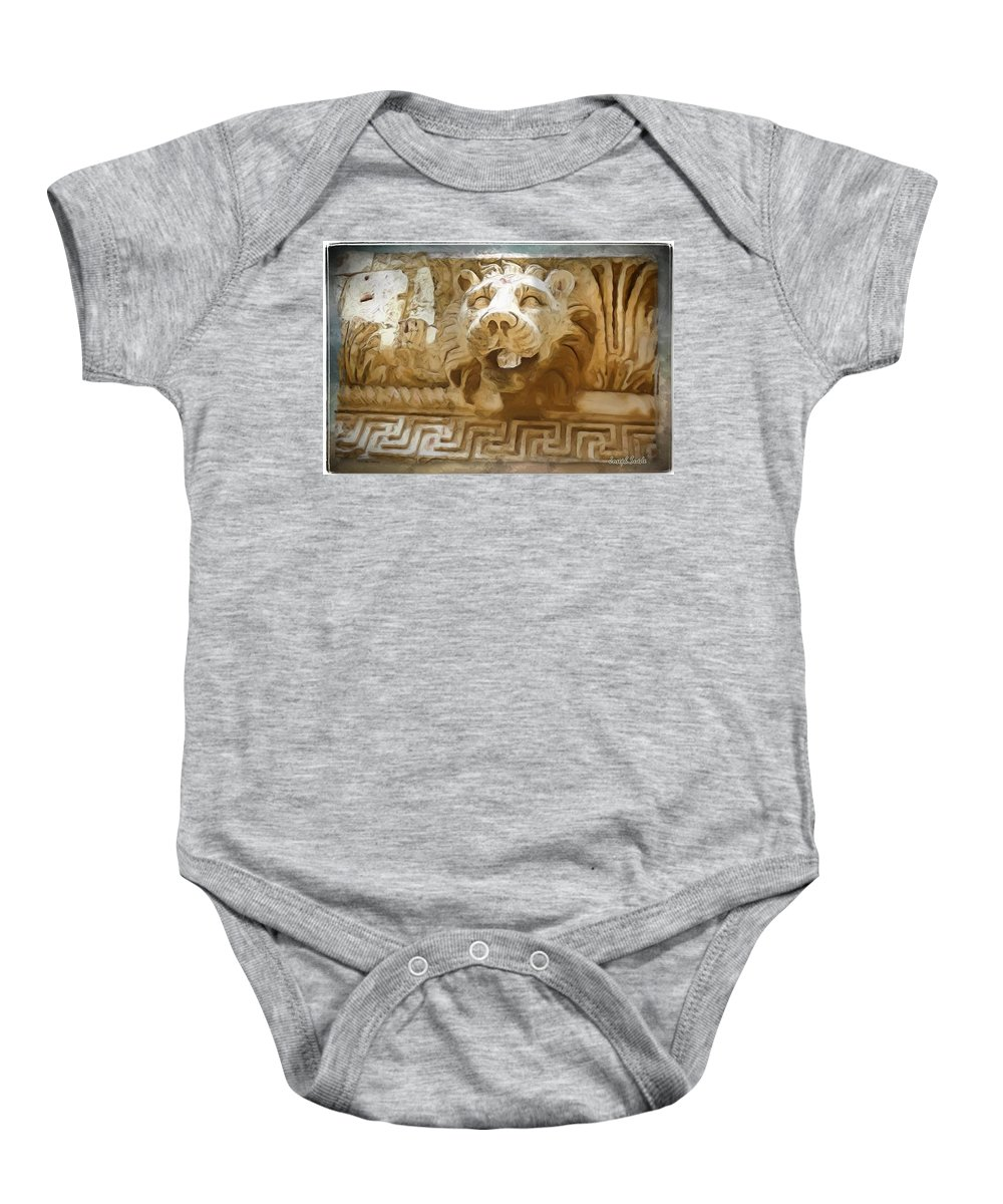 Roman Baby Onesie featuring the photograph Do-00313 Lion Water Feature by Digital Oil