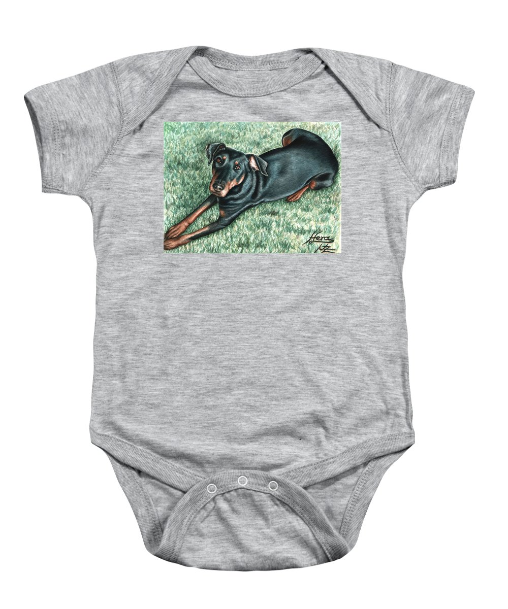 Dog Baby Onesie featuring the painting Dobermann by Nicole Zeug