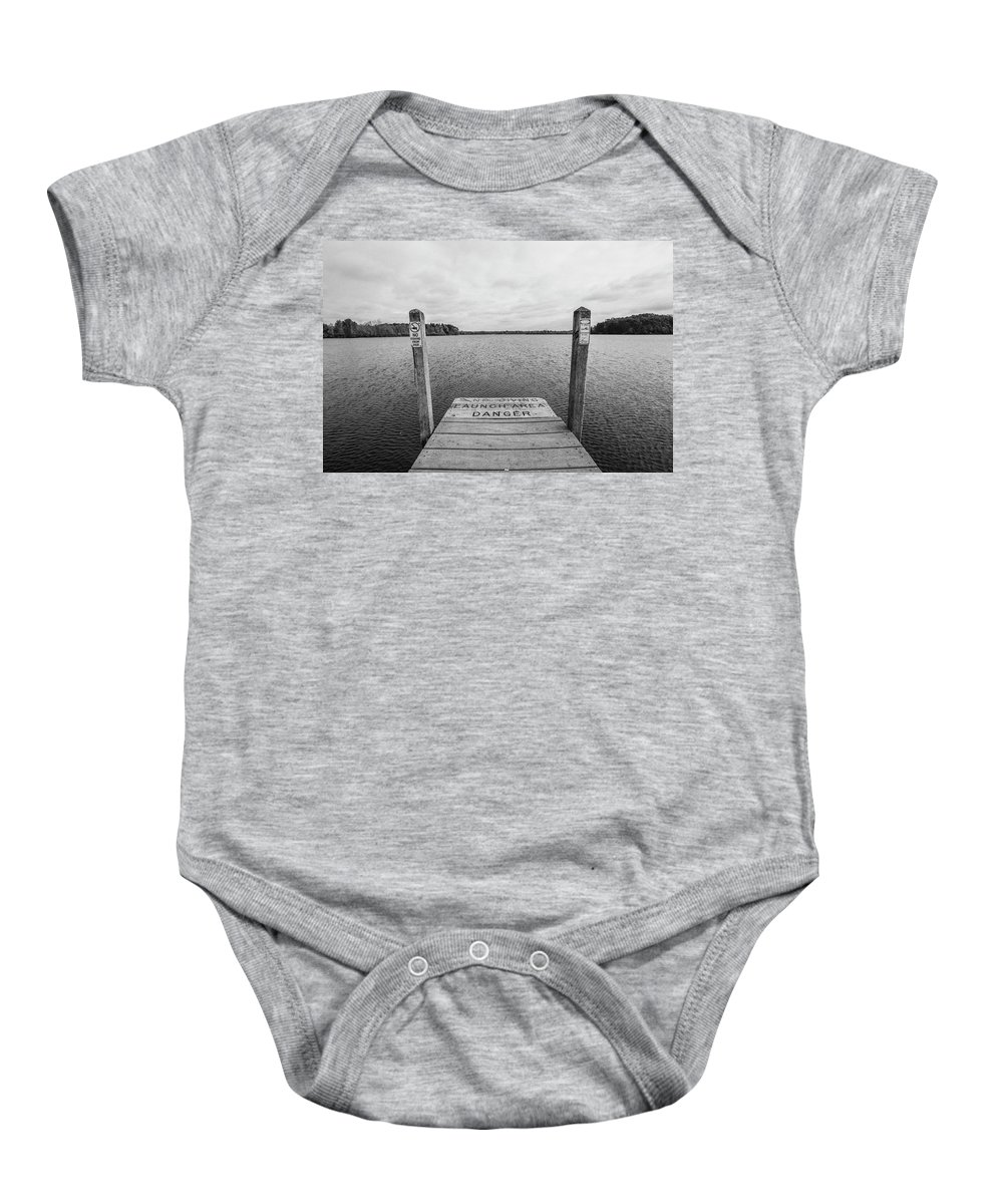 35mm Film Baby Onesie featuring the photograph Dock No Diving by John McGraw