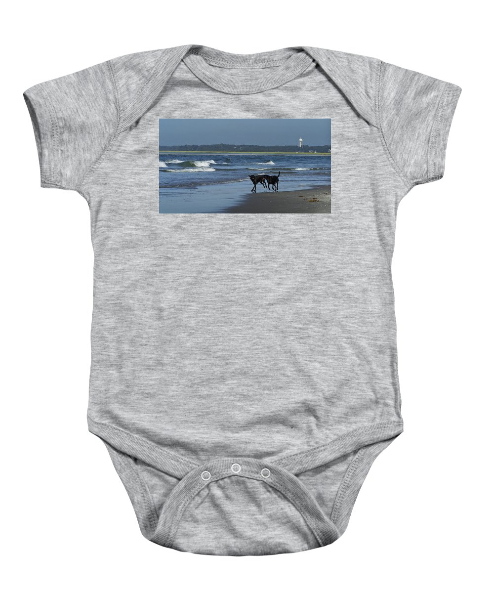 Dog Baby Onesie featuring the photograph Dogs On The Beach by Teresa Mucha