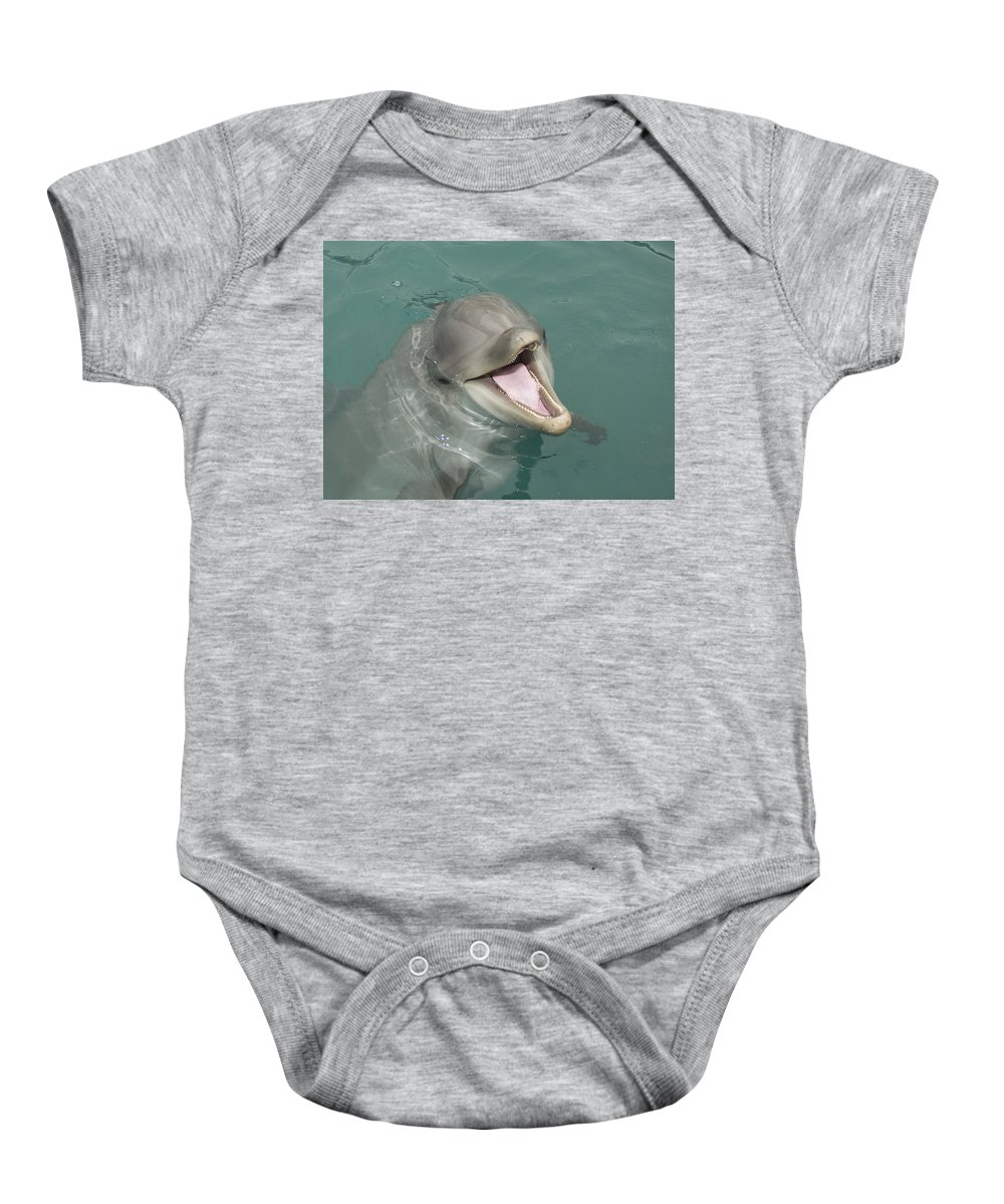 Dolphin Baby Onesie featuring the painting Dolphin by Sean M