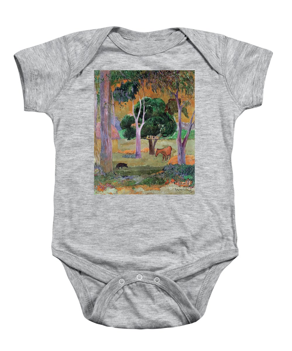 Dominican Landscape Or Baby Onesie featuring the painting Dominican Landscape by Paul Gauguin