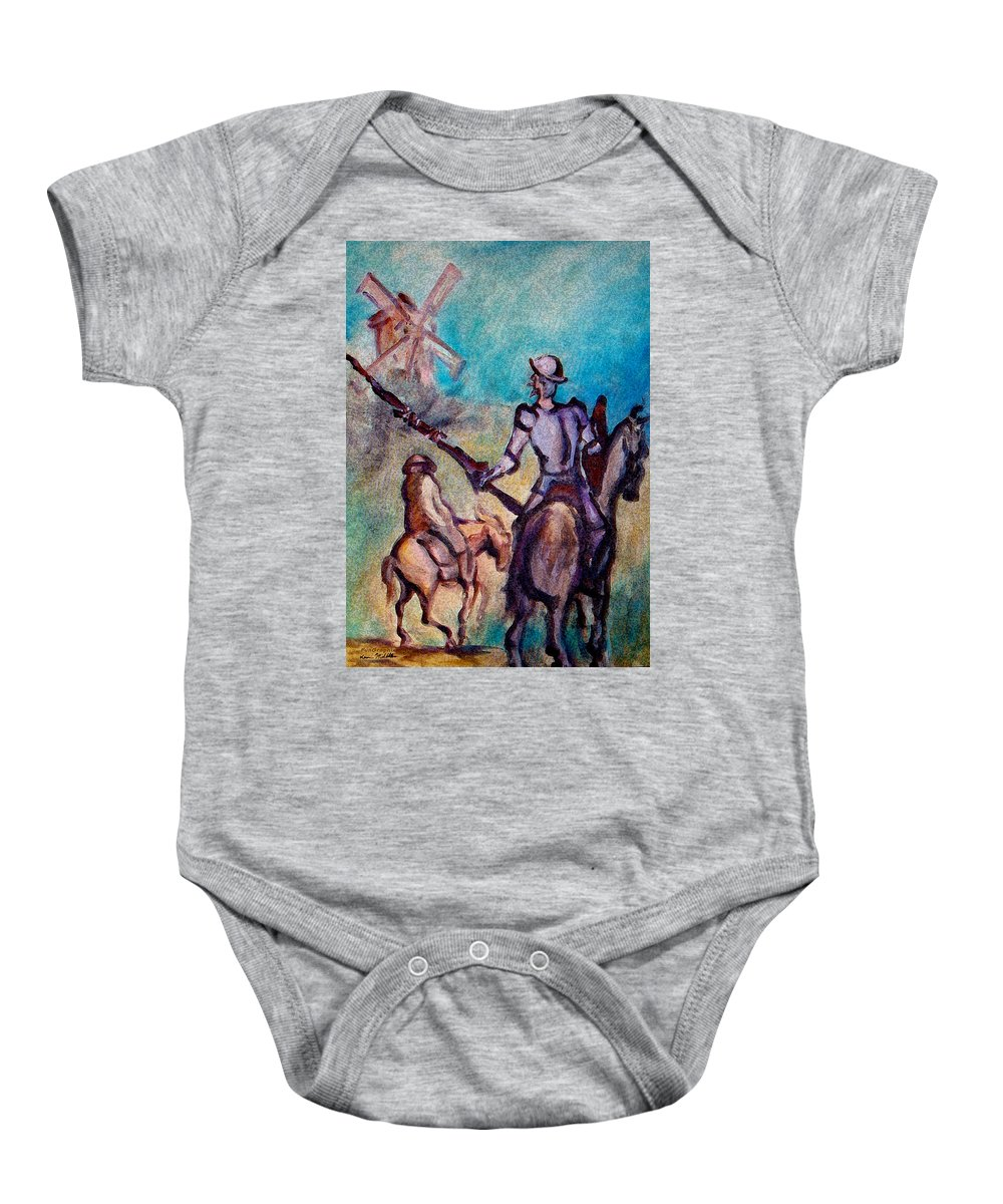 Don Quixote Baby Onesie featuring the painting Don Quixote With Windmill by Kevin Middleton