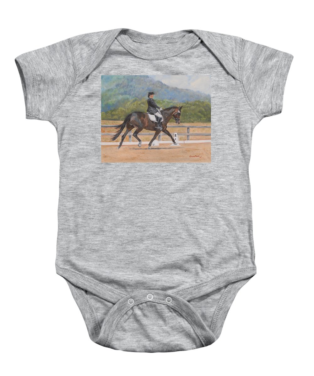 Horse Baby Onesie featuring the painting Donnerlittchen by Quwatha Valentine